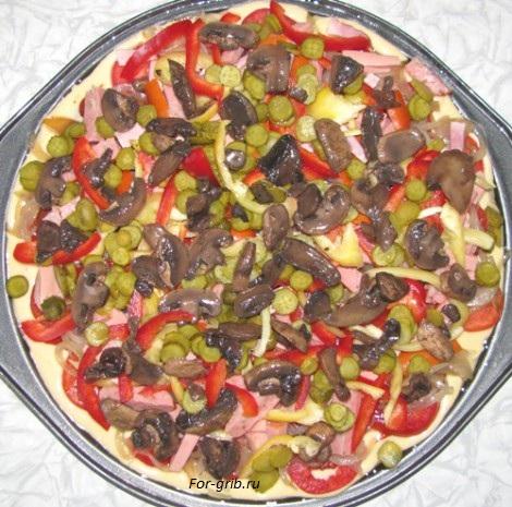 обжаренные грибы для пиццы